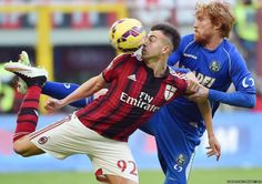 Jan 2015 (Ouch!) AC Milan's Stephan El Shaarawy (left) in action against Sassuolo's Davide Biondini