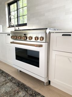 The White and Brush Bronze Cafe Appliances that have my whole heart in the Fullmer Kitchen - Chris Loves Julia Kitchen And Bath, Kitchen Dining, Kitchen White, White Appliances In Kitchen, Prep Kitchen, Updated Kitchen, Kitchen Reno, Kitchen Backsplash, Dining Area