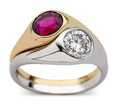 Villa ruby and diamond crossover ring   Nigel Milne