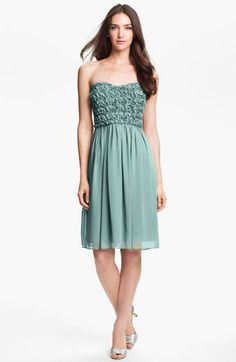 Calvin Klein Strapless Rosette Bodice Chiffon Dress available at #Nordstrom in Spray.  I ordered in zero on 1/21 to try it on and see how close it is to the sample.