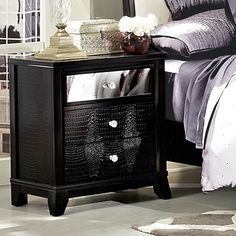 Homelegance Jacqueline Mirrored Drawer Front Nightstand in Black Faux Alligator - BEYOND Stores