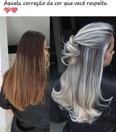 Ideas Hair Color Flamboyage Ash Blonde Long Bobs - Hairstyles For All Long Gray Hair, Silver Grey Hair, Brown Blonde Hair, Blonde Streaks, Brunette Hair, Gray Hair Highlights, Grunge Hair, Great Hair, Hair Looks