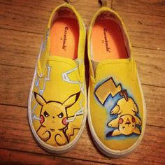 Pokemon Pikachu, custom, hand painted, made to order shoes. Custom up to two Pokemon for these shoes by ManaArtCrafts on Etsy