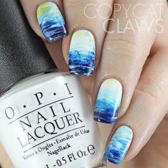 The Digit-al Dozen does Nature: Day 3 Fan Brush Ocean Nail Art