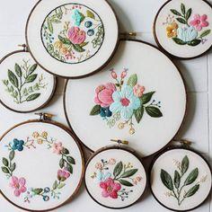 textilestejidos: brwnpaperbag: Vibrant embroidered hoop art by...