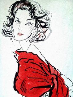1950s Look, Red Evening Shawl Illustration by Rene Bouche, 1956 @ Pintuckstyle.blogspot.com, Pintucks