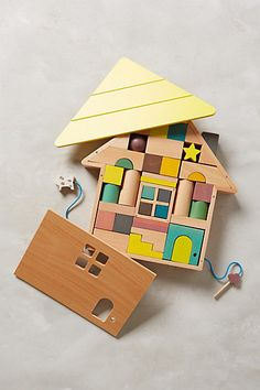 What a cute wood block set- that's also a puzzle.