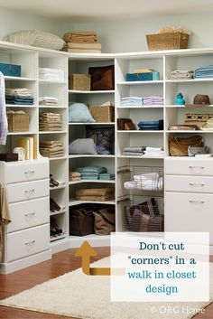 What to do about those pesky corners in a walk in closet design? How big should they be? In this article learn about this and how to avoid other common problems in custom walk in closet designs.