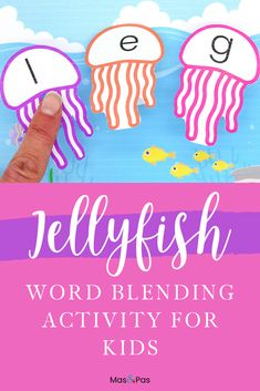 Teach your child how to read their words by blending letter sounds together using these cute jellyfish printables, available to download for free! It's always a great idea to make learning and education fun, especially for kids at a young age #learningletters #learningtoread #firstwords #learntoread #educationalactivityforkids