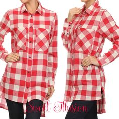 Long sleeve, gingham plaid, button up, tunic shirt with collar
