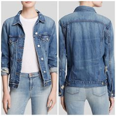 """J Brand Distressed Denim Jacket SO chic and the perfect spring + summer pairing for sun dresses or white denim. Pre worn and like new. Distressing throughout. Two front breast pockets. Marked size """"M/L"""" and fits slightly oversized. No trades!! 041516100gwb J Brand Jackets & Coats Jean Jackets"""