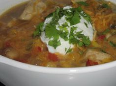 Chicken Chili.    I tried this recipe for a work chili cook off. The women said I was the winner, but the men say it can't be considered chili! Whatever you call it, it is super delish and low in fat! Our local grocery store, Hy Vee, had this in their handout.