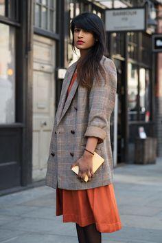 london street style XXV. long plaid blazer over  dress.