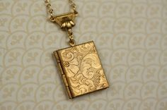 in love.. Art Nouveau Book Locket Necklace Long Gold Pendant by FreshyFig