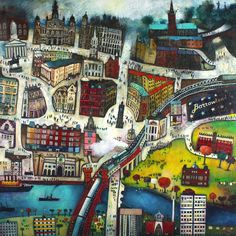 I Belong to Glasgow by rob hain - love this, saw print in friends house. Think it includes uni halls, top right? My third home after Inverness and portmahomack.