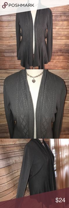 Requirements Gray Super Soft Draped Open Cardigan Super soft, warm, cozy and stylish. Great neutral gray shade with draped open styling. Perfect with leggings and tall boots or booties. Excellent quality and condition. Check out my other listings to bundle and save 25% 😎! Requirements Sweaters Cardigans