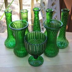 emerald glassware, which Petals Floral Design has to rent.