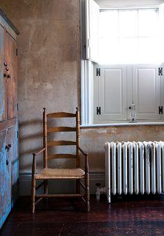 Bare plaster walls