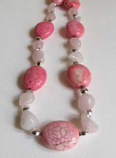 Pink Jasper Necklace with Rose Quartz and Sterling by Smokeylady54