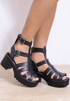 511f6dc2372c Black Cleated Platforms Ankle Strap Strappy Sandals Shoes