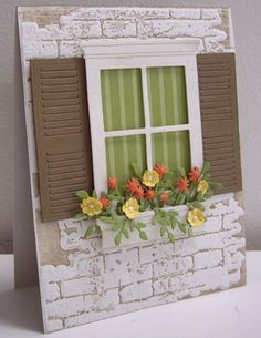 So love this, especially the white washed brick look. These Poppy Stamp dies are fabulous!