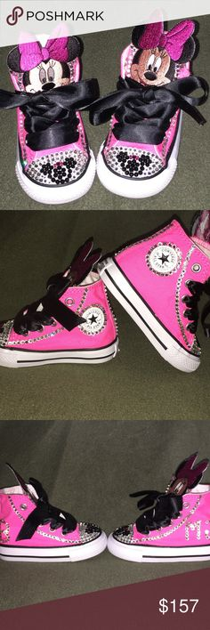 636bb2e9e21e72 Minnie Mouse Sneakers Brand New Converse with Bling and themed to Minnie  Mouse. These are