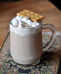 S'mores Latte!  I can't remember where I was at the time, but a few years ago I went to a coffee shop that offered a s'mores latte. This drink was inspired by classic campfire s'mores, with their layers of crisp graham crackers, toasted marshmallows and melting chocolate.