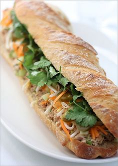 Banh mi - Vietnamese sandwich with a French influence. Yummy cilantro!