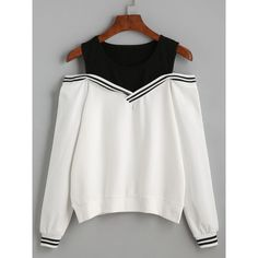 Varsity Striped Contrast Open Shoulder Sweatshirt (72 BRL) found on Polyvore featuring women's fashion, tops, hoodies, sweatshirts, long sleeve sweatshirts, cotton sweatshirts, pullover sweatshirt, white pullover sweatshirt and cotton pullovers