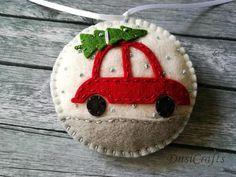 Felt Car ornament Christmas Car ornament Felt Car with