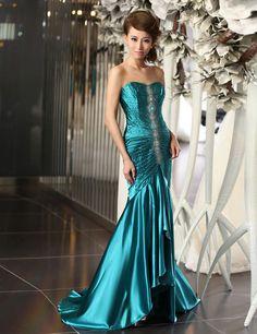 shining sweetheart sleeveless elastic satin dress