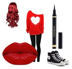 """red lovers"" by danielka12 ❤ liked on Polyvore featuring Wolford, Converse, Yves Saint Laurent and Winky Lux"