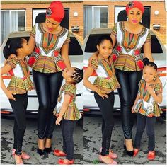 Mom and daughters co-ordinating outfits. Simple and nice #africanprint #dashiki