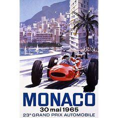 GRAND PRIX D'EUROPE AUTOMOBILE MONACO 1955 CAR RACE VINTAGE POSTER REPRO
