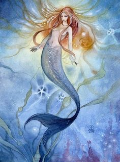 by Stephanie Pui-Mun Law Fantasy Mermaids, Real Mermaids, Mermaids And Mermen, Mermaid Artwork, Mermaid Paintings, Siren Mermaid, Tattoo Mermaid, Mermaid Pictures, Mystique