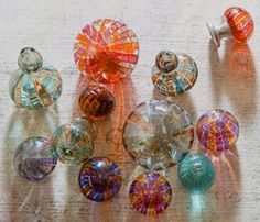 a selection of Tracy Glover's beautiful and creative Mouth-Blown Glass door knobs Door Knobs And Knockers, Glass Door Knobs, Knobs And Handles, Knobs And Pulls, Drawer Pulls, Door Handles, Drawer Knobs, Cool Doors, Unique Doors