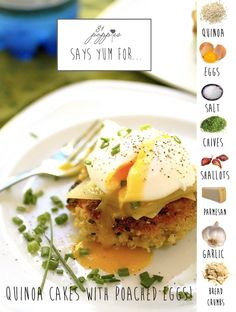 Quinoa patties with poached eggs