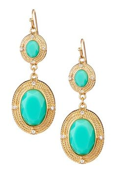 Olivia Welles Dual Station Bezeled Stone Drop Earrings