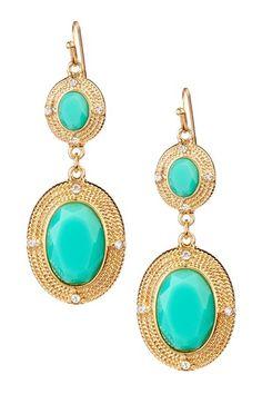 Olivia Welles Dual Station Bezeled Stone Drop Earrings