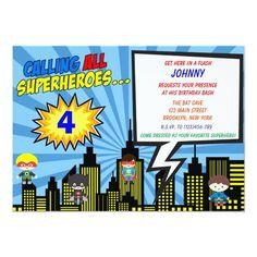 Super Hero Birthday Invitations | Comic Book Superhero Birthday Invitations, Superhero Birthday Party, Birthday Party Themes, Boy Birthday, Superhero Images, Superhero Kids, Kids Party Supplies, All Superheroes, Custom Greeting Cards