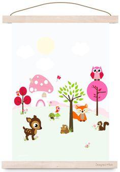 Poster Bos Vrienden Roze A3