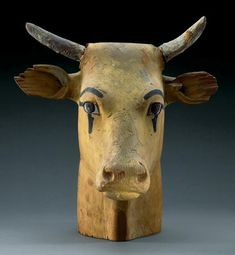 From the tomb of Amenhotep II, this wooden sculpture is evidence of the importance of cattle to the ancient Egyptians. The animals served as beasts of burden and food sources and even lent their features to several gods.