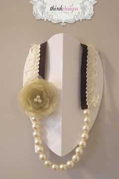 Pearl necklace with lace 'n ribbon, decorated with rose pin. Interested in buying?  Please contact @ my_thequill@yahoo.gr