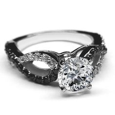 Black & White Diamond Engagement Ring infinity Diamonds band in 14K White Gold - ES1090