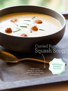 Curried Butternut Squash Soup.. One of my fall favorites, add some apple chicken sausage and you're good to go.