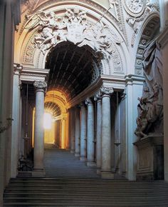 The Regia Scala, or Royal Stairs, designed by Bernini and rebuilt between 1663 and 1666 to replace a narrow twisting staircase between the Apostolic Palace and St Peter's Basilica.