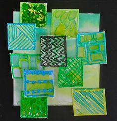 Fine Lines: Visual texture & analogous colors cardboard collage Elementary Art Rooms, Art Lessons Elementary, Visual Texture, Texture Art, Color Art Lessons, Classe D'art, 6th Grade Art, Fourth Grade, Grade 3