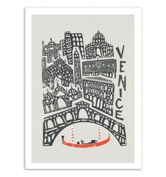 Fox and Velvet invite you to a world tour of emblematic cities, in a naïve and minimalist graphic style. Here a design of Venice, city of Italy. Art-Poster and prints published by Wall Editions. Illustration Format : 50 x 70 cm