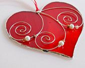 Red Peace Sign Heart Love Stained Glass Gift for by GlassByKat