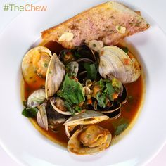Mario Batali's Steamed Clams in Spicy Brodetto with Garlic Bread! #TheChew